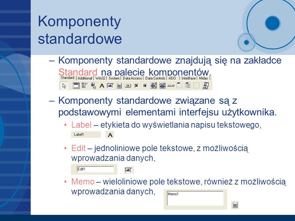 Komponenty standardowe –Komponenty standardowe znajdują się na zakładce Standard na palecie komponentów. –Komponenty standardowe związane są z podstaw