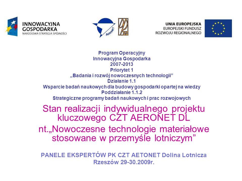 Cel projektu Celem strategicznym projektu jest ukierunkowanie realizowanych w kraju prac badawczych w branży lotniczej, na dziedziny które mają lub będą miały decydujący wpływ na poprawę pozycji konkurencyjnej polskiej gospodarki oraz budowę GOW[1] [1] GOW- Gospodarka Oparta na Wiedzy[1] Cel projektu jest zgodny z celem głównym POIG oraz celami poddziałania 1.1.2.