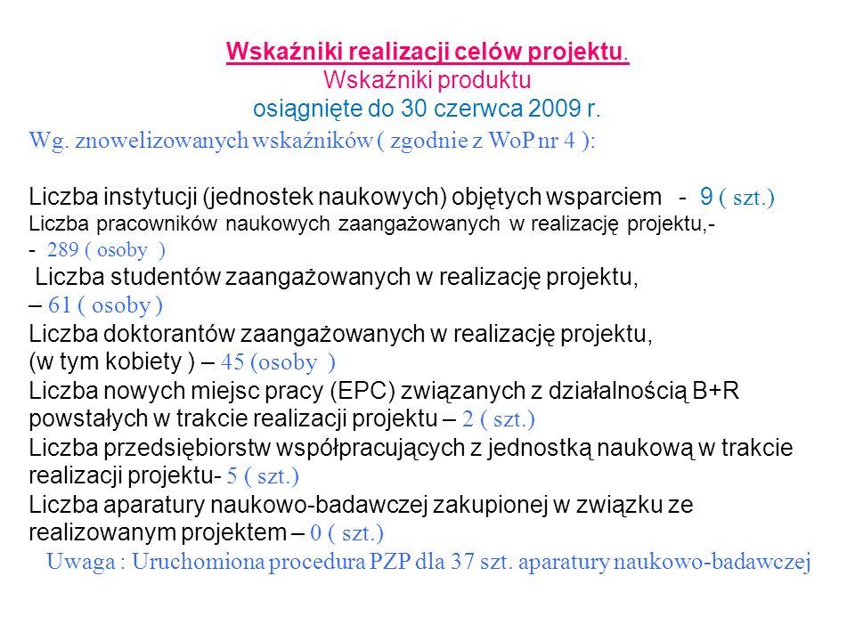 Wskaźniki realizacji celów projektu. Wskaźniki produktu osiągnięte do 30 czerwca 2009 r. Wg. znowelizowanych wskaźników ( zgodnie z WoP nr 4 ): Liczba