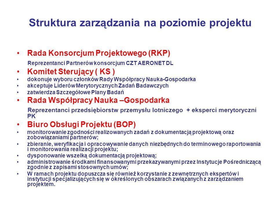 Struktura zarządzania na poziomie projektu Rada Konsorcjum Projektowego (RKP) Reprezentanci Partnerów konsorcjum CZT AERONET DL Komitet Sterujący ( KS