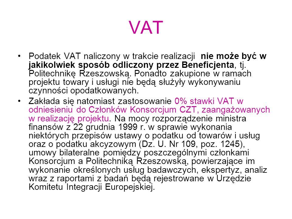 VAT Podatek VAT naliczony w trakcie realizacji nie może być w jakikolwiek sposób odliczony przez Beneficjenta, tj. Politechnikę Rzeszowską. Ponadto za