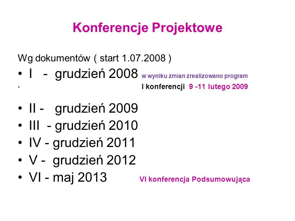 Konferencje Projektowe Wg dokumentów ( start 1.07.2008 ) I - grudzień 2008 w wyniku zmian zrealizowano program I konferencji 9 -11 lutego 2009 II - gr
