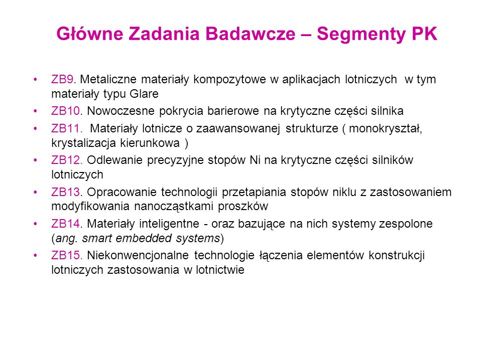 Aktualni Partnerzy w głównych zadaniach badawczych ZB9 - PL, PRz, PW, PŚl, IMP PAN ZB10 - PŚl, PW, PRz, PL ZB11 - PŚl, PW, PRz ZB12 - PŚl, PW, PRz ZB13 - PŚl, PW, PRz ZB14 - IPPT PAN, IMP PAN, ILOT, PRz, PL, PW ZB15 - PL, PRz, PCz, IMP PAN
