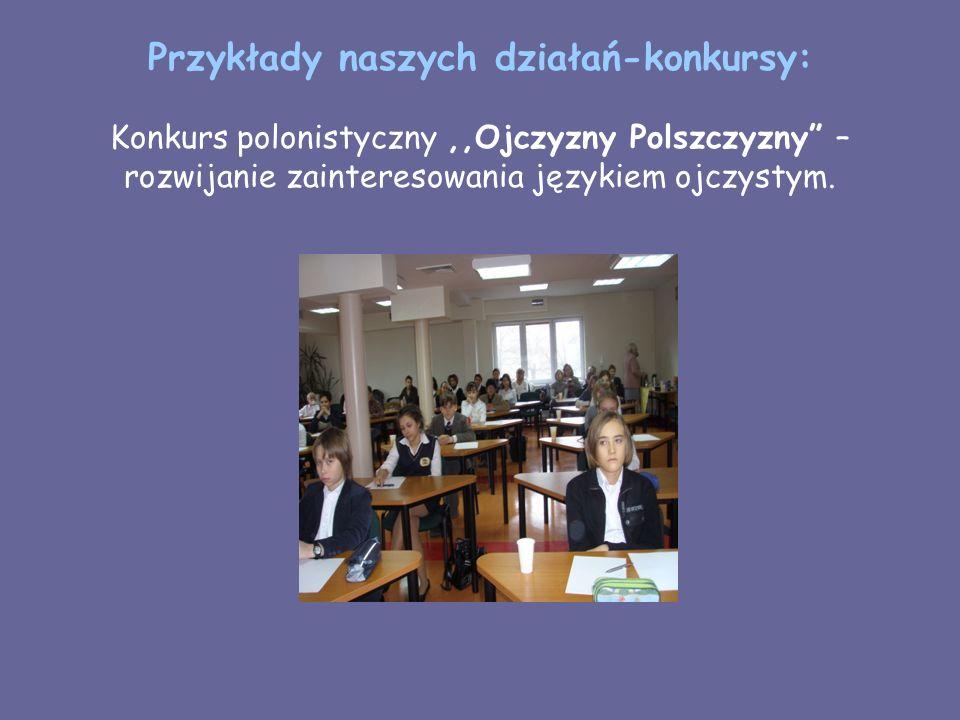 Przykłady naszych działań-konkursy: Konkurs polonistyczny,,Ojczyzny Polszczyzny – rozwijanie zainteresowania językiem ojczystym.
