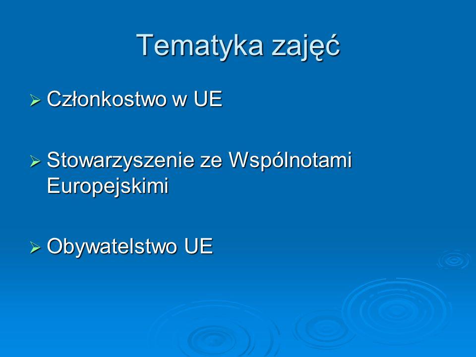 Tematyka zajęć Członkostwo w UE Członkostwo w UE Stowarzyszenie ze Wspólnotami Europejskimi Stowarzyszenie ze Wspólnotami Europejskimi Obywatelstwo UE