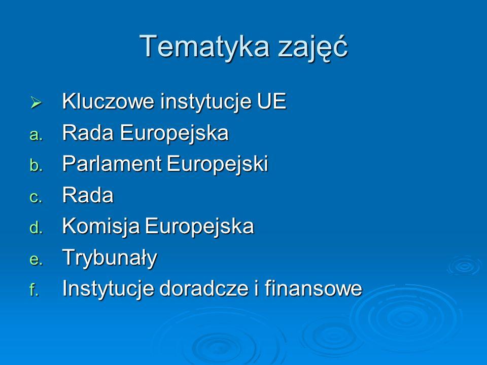 Tematyka zajęć Kluczowe instytucje UE Kluczowe instytucje UE a. Rada Europejska b. Parlament Europejski c. Rada d. Komisja Europejska e. Trybunały f.