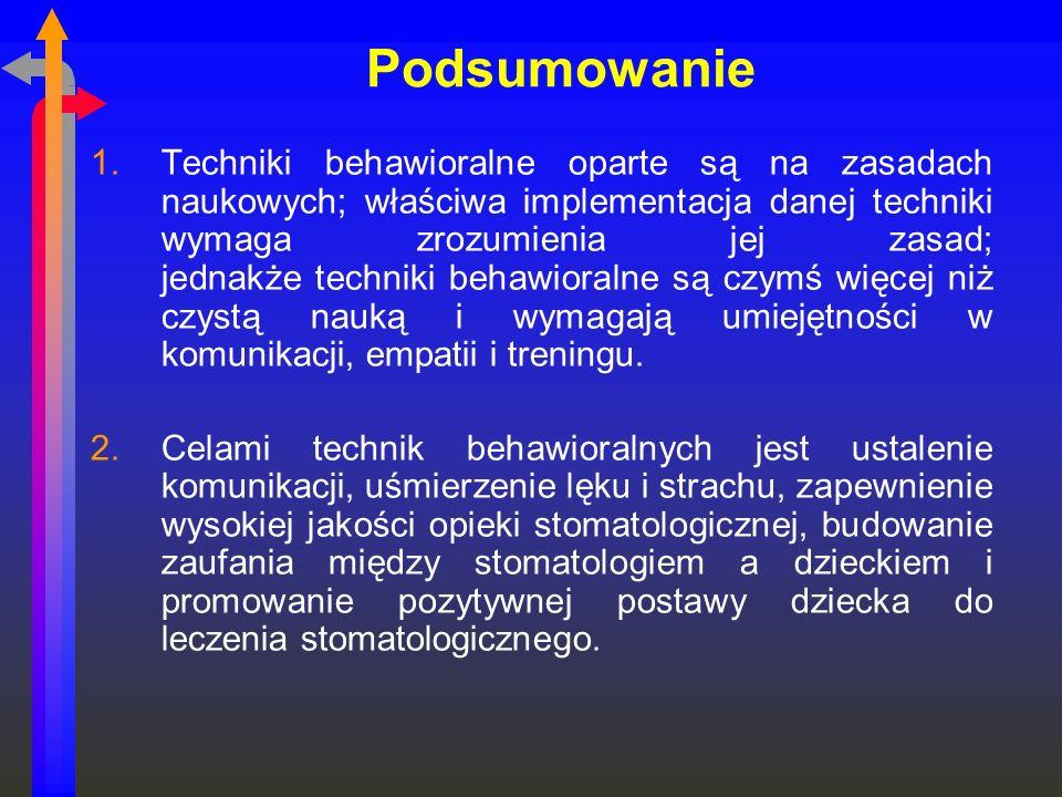 Podsumowanie 1.Techniki behawioralne oparte są na zasadach naukowych; właściwa implementacja danej techniki wymaga zrozumienia jej zasad; jednakże tec