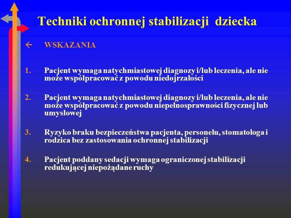 Techniki ochronnej stabilizacji dziecka ßWSKAZANIA 1.Pacjent wymaga natychmiastowej diagnozy i/lub leczenia, ale nie może współpracować z powodu niedo