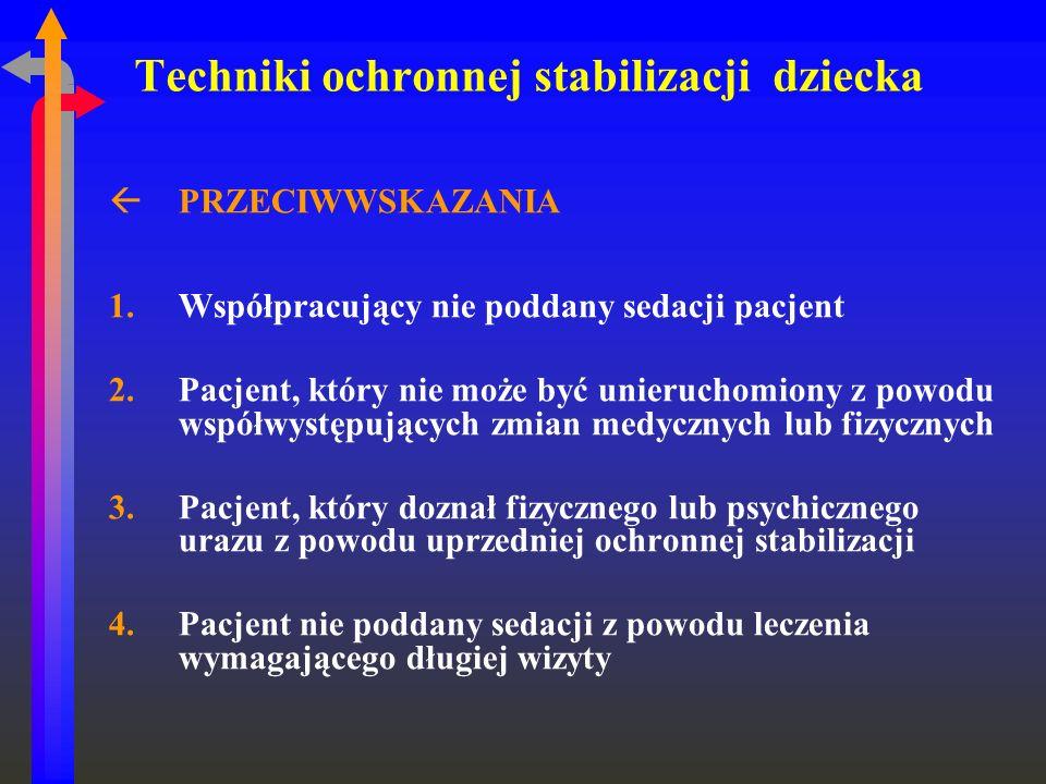 Techniki ochronnej stabilizacji dziecka ßPRZECIWWSKAZANIA 1.Współpracujący nie poddany sedacji pacjent 2.Pacjent, który nie może być unieruchomiony z
