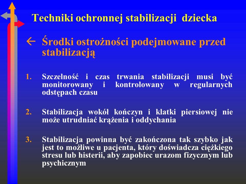 Techniki ochronnej stabilizacji dziecka ߌrodki ostrożności podejmowane przed stabilizacją 1.Szczelność i czas trwania stabilizacji musi być monitorow
