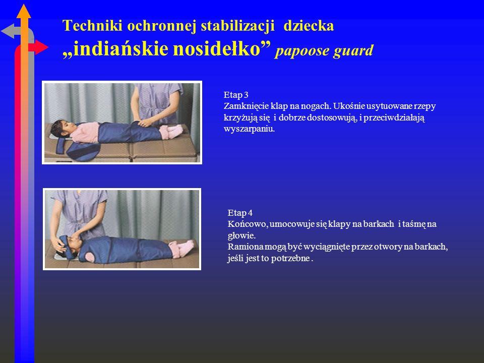 Techniki ochronnej stabilizacji dziecka indiańskie nosidełko papoose guard Etap 3 Zamknięcie klap na nogach. Ukośnie usytuowane rzepy krzyżują się i d