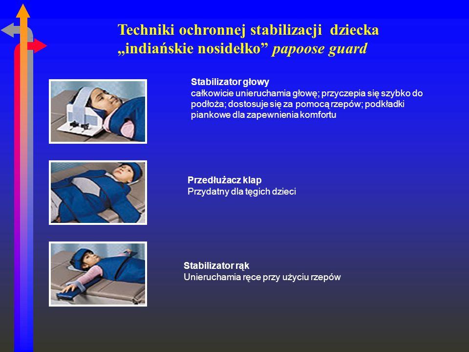 Stabilizator głowy całkowicie unieruchamia głowę; przyczepia się szybko do podłoża; dostosuje się za pomocą rzepów; podkładki piankowe dla zapewnienia