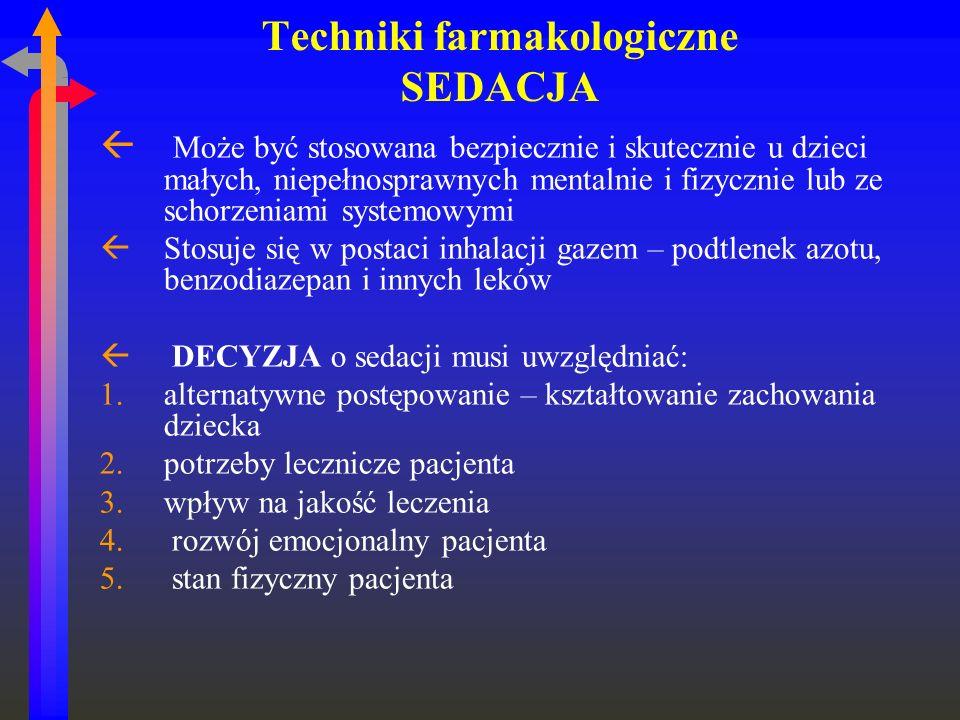 Techniki farmakologiczne SEDACJA ß Może być stosowana bezpiecznie i skutecznie u dzieci małych, niepełnosprawnych mentalnie i fizycznie lub ze schorze