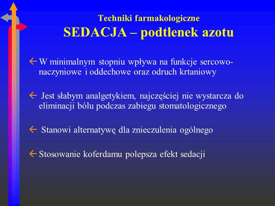 Techniki farmakologiczne SEDACJA – podtlenek azotu ßW minimalnym stopniu wpływa na funkcje sercowo- naczyniowe i oddechowe oraz odruch krtaniowy ß Jes