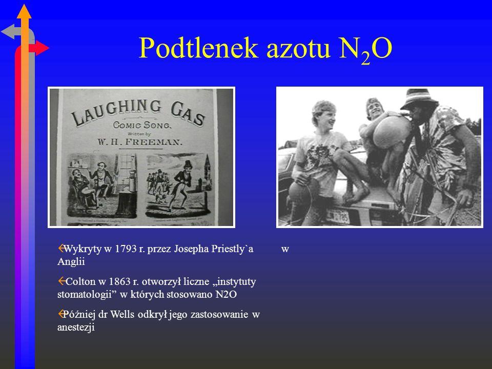 Podtlenek azotu N 2 O ßWykryty w 1793 r. przez Josepha Priestly`a w Anglii ß Colton w 1863 r. otworzył liczne instytuty stomatologii w których stosowa