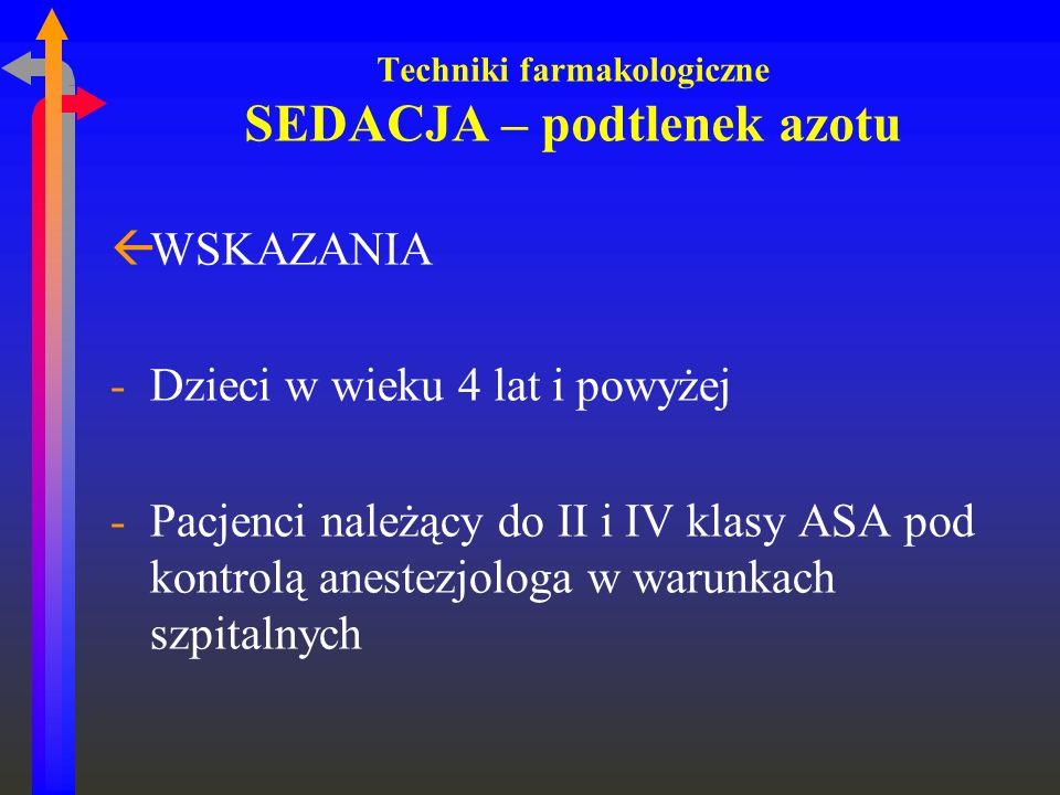Techniki farmakologiczne SEDACJA – podtlenek azotu ßWSKAZANIA -Dzieci w wieku 4 lat i powyżej -Pacjenci należący do II i IV klasy ASA pod kontrolą ane