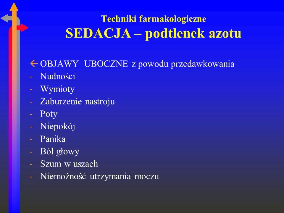 Techniki farmakologiczne SEDACJA – podtlenek azotu ßOBJAWY UBOCZNE z powodu przedawkowania -Nudności -Wymioty -Zaburzenie nastroju -Poty -Niepokój -Pa