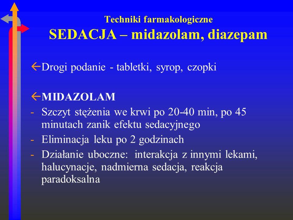 Techniki farmakologiczne SEDACJA – midazolam, diazepam ßDrogi podanie - tabletki, syrop, czopki ßMIDAZOLAM -Szczyt stężenia we krwi po 20-40 min, po 4
