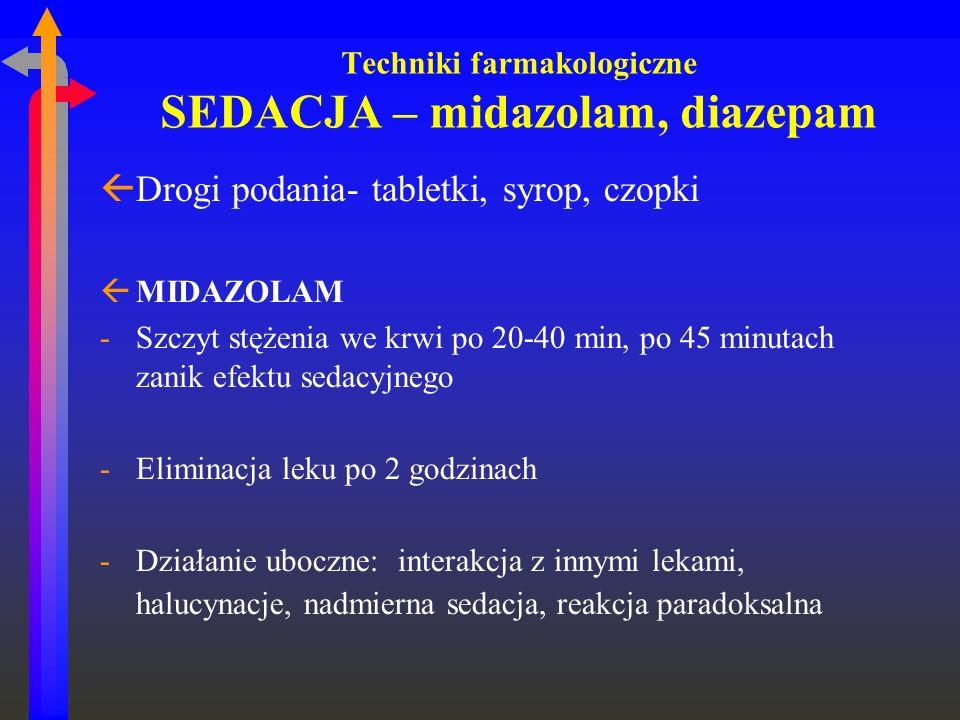 Techniki farmakologiczne SEDACJA – midazolam, diazepam ßDrogi podania- tabletki, syrop, czopki ßMIDAZOLAM -Szczyt stężenia we krwi po 20-40 min, po 45