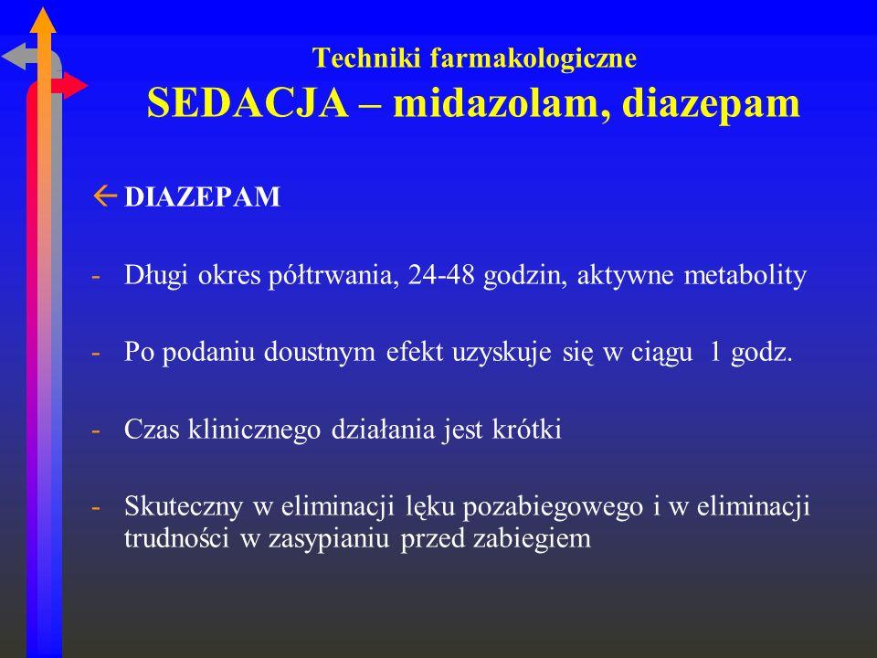 Techniki farmakologiczne SEDACJA – midazolam, diazepam ßDIAZEPAM -Długi okres półtrwania, 24-48 godzin, aktywne metabolity -Po podaniu doustnym efekt