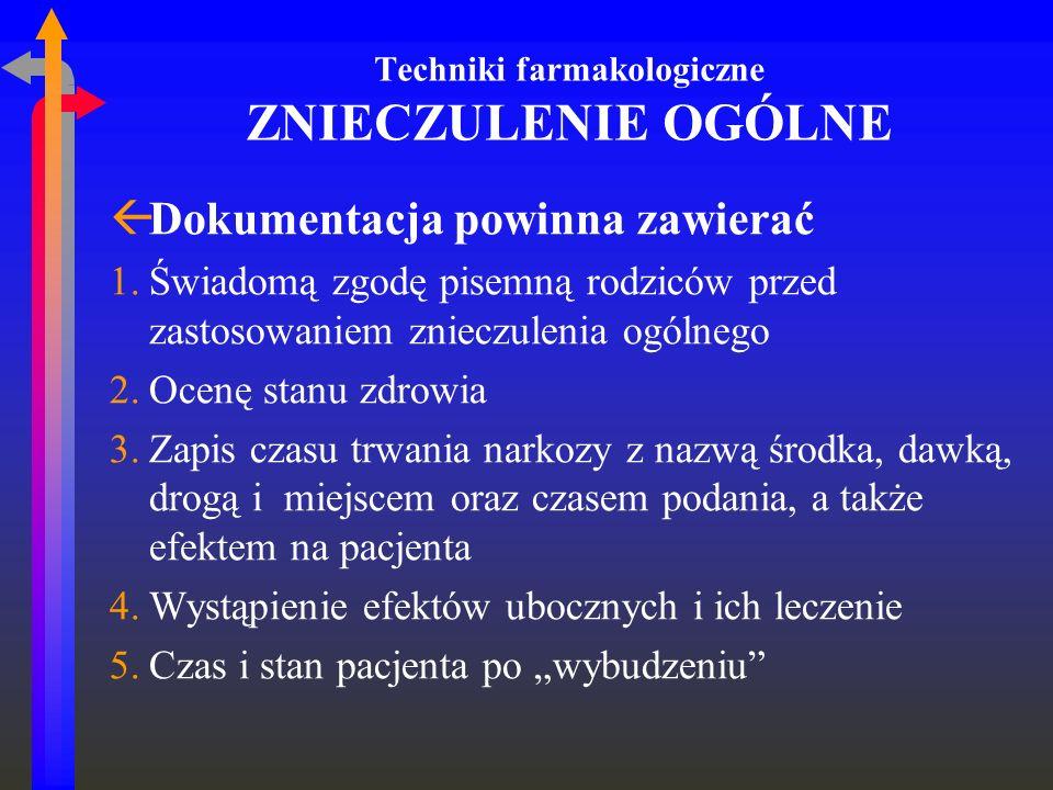 Techniki farmakologiczne ZNIECZULENIE OGÓLNE ßDokumentacja powinna zawierać 1.Świadomą zgodę pisemną rodziców przed zastosowaniem znieczulenia ogólneg