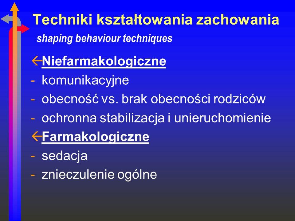 Techniki kształtowania zachowania shaping behaviour techniques ßNiefarmakologiczne -komunikacyjne -obecność vs. brak obecności rodziców -ochronna stab