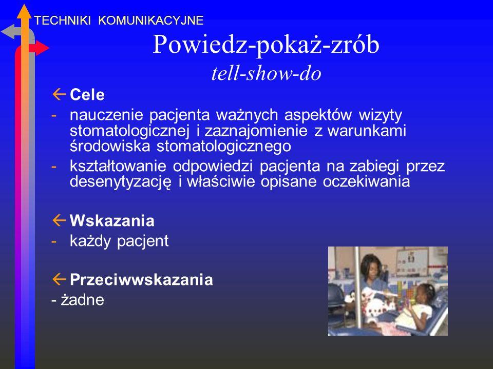 Powiedz-pokaż-zrób tell-show-do ßCele -nauczenie pacjenta ważnych aspektów wizyty stomatologicznej i zaznajomienie z warunkami środowiska stomatologic
