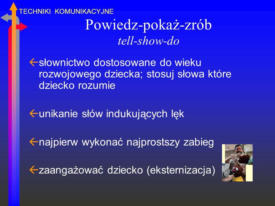 Powiedz-pokaż-zrób tell-show-do ßsłownictwo dostosowane do wieku rozwojowego dziecka; stosuj słowa które dziecko rozumie ßunikanie słów indukujących l