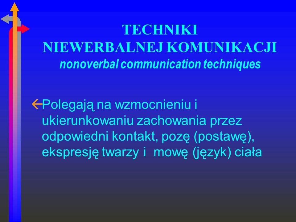 TECHNIKI NIEWERBALNEJ KOMUNIKACJI nonoverbal communication techniques ßPolegają na wzmocnieniu i ukierunkowaniu zachowania przez odpowiedni kontakt, p