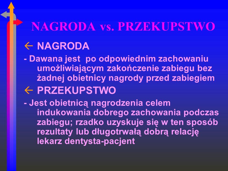 NAGRODA vs. PRZEKUPSTWO ßNAGRODA - Dawana jest po odpowiednim zachowaniu umożliwiającym zakończenie zabiegu bez żadnej obietnicy nagrody przed zabiegi