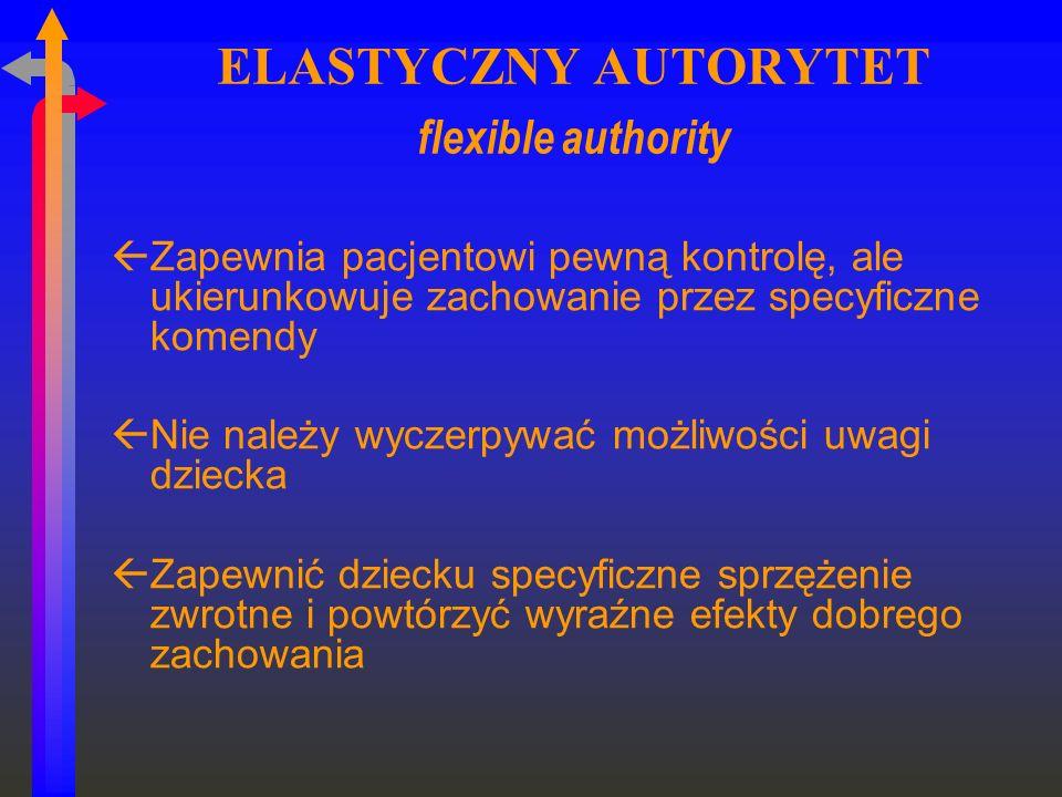 ELASTYCZNY AUTORYTET flexible authority ßZapewnia pacjentowi pewną kontrolę, ale ukierunkowuje zachowanie przez specyficzne komendy ßNie należy wyczer