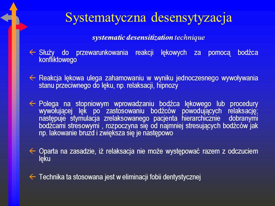 Systematyczna desensytyzacja systematic desensitization technique ßSłuży do przewarunkowania reakcji lękowych za pomocą bodźca konfliktowego ßReakcja