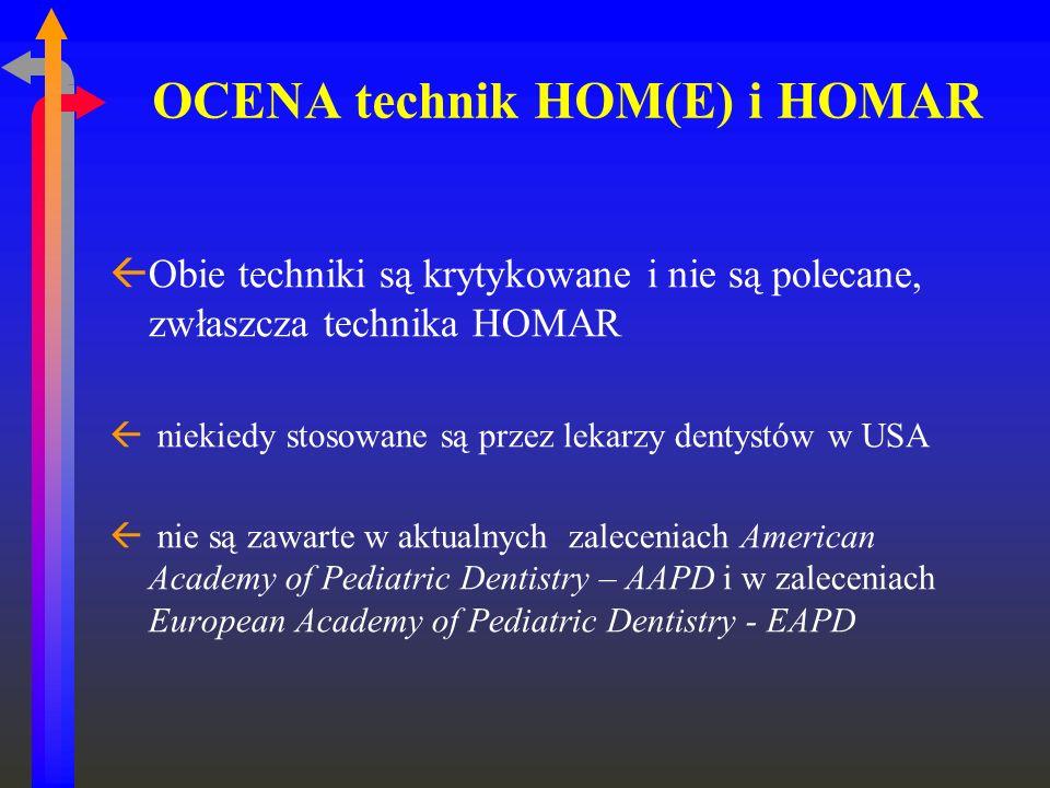 OCENA technik HOM(E) i HOMAR ßObie techniki są krytykowane i nie są polecane, zwłaszcza technika HOMAR ß niekiedy stosowane są przez lekarzy dentystów
