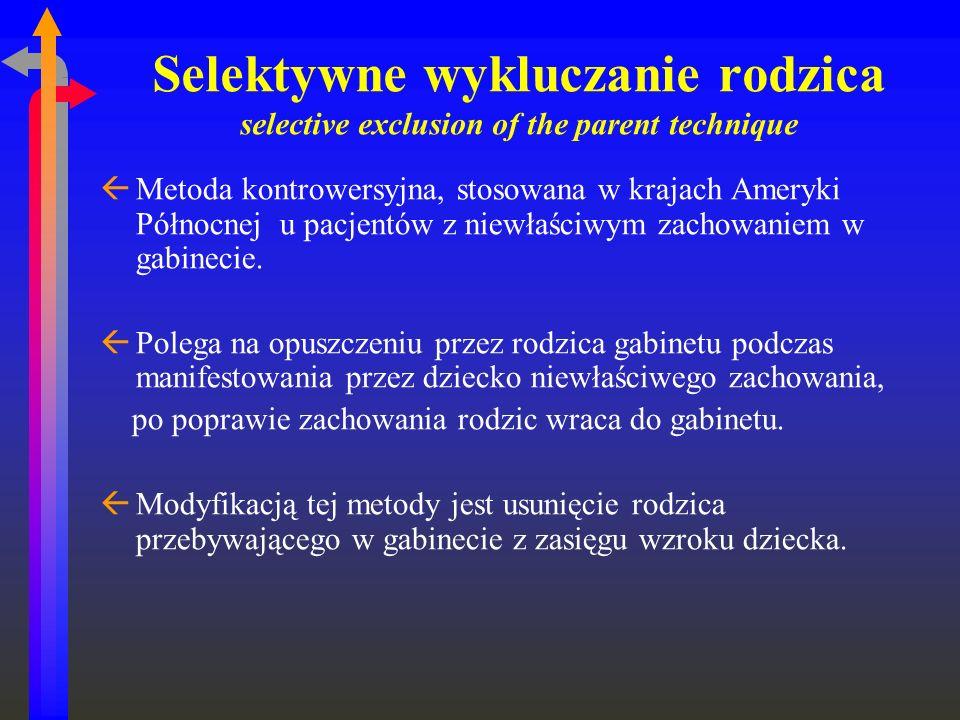 Selektywne wykluczanie rodzica selective exclusion of the parent technique ßMetoda kontrowersyjna, stosowana w krajach Ameryki Północnej u pacjentów z
