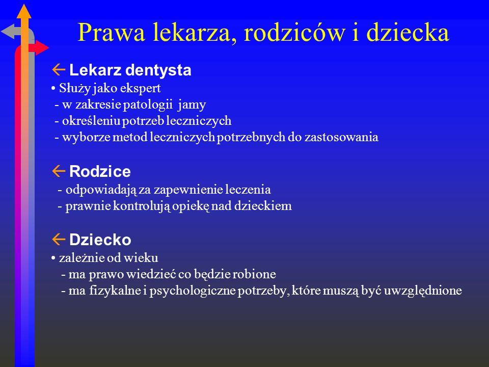 Prawa lekarza, rodziców i dziecka ßLekarz dentysta Służy jako ekspert - w zakresie patologii jamy - określeniu potrzeb leczniczych - wyborze metod lec