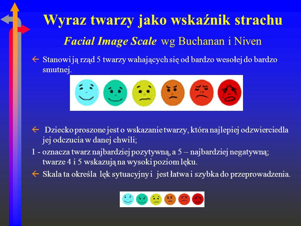 Wyraz twarzy jako wskaźnik strachu Facial Image Scale wg Buchanan i Niven ßStanowi ją rząd 5 twarzy wahających się od bardzo wesołej do bardzo smutnej