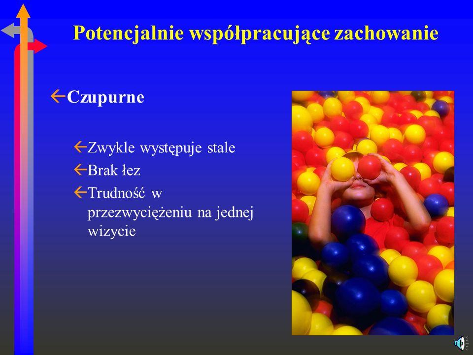 Potencjalnie współpracujące zachowanie ßCzupurne ßZwykle występuje stale ßBrak łez ßTrudność w przezwyciężeniu na jednej wizycie