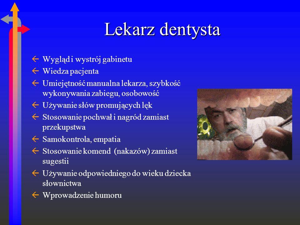 Lekarz dentysta ßWygląd i wystrój gabinetu ßWiedza pacjenta ßUmiejętność manualna lekarza, szybkość wykonywania zabiegu, osobowość ßUżywanie słów prom
