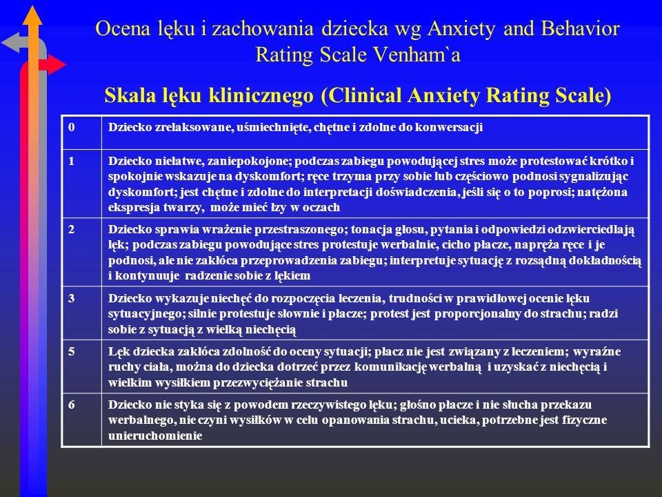 Ocena lęku i zachowania dziecka wg Anxiety and Behavior Rating Scale Venham`a Skala lęku klinicznego (Clinical Anxiety Rating Scale) 0Dziecko zrelaksowane, uśmiechnięte, chętne i zdolne do konwersacji 1Dziecko niełatwe, zaniepokojone; podczas zabiegu powodującej stres może protestować krótko i spokojnie wskazuje na dyskomfort; ręce trzyma przy sobie lub częściowo podnosi sygnalizując dyskomfort; jest chętne i zdolne do interpretacji doświadczenia, jeśli się o to poprosi; natężona ekspresja twarzy, może mieć łzy w oczach 2Dziecko sprawia wrażenie przestraszonego; tonacja głosu, pytania i odpowiedzi odzwierciedlają lęk; podczas zabiegu powodujące stres protestuje werbalnie, cicho płacze, napręża ręce i je podnosi, ale nie zakłóca przeprowadzenia zabiegu; interpretuje sytuację z rozsądną dokładnością i kontynuuje radzenie sobie z lękiem 3Dziecko wykazuje niechęć do rozpoczęcia leczenia, trudności w prawidłowej ocenie lęku sytuacyjnego; silnie protestuje słownie i płacze; protest jest proporcjonalny do strachu; radzi sobie z sytuacją z wielką niechęcią 5Lęk dziecka zakłóca zdolność do oceny sytuacji; płacz nie jest związany z leczeniem; wyraźne ruchy ciała, można do dziecka dotrzeć przez komunikację werbalną i uzyskać z niechęcią i wielkim wysiłkiem przezwyciężanie strachu 6Dziecko nie styka się z powodem rzeczywistego lęku; głośno płacze i nie słucha przekazu werbalnego, nie czyni wysiłków w celu opanowania strachu, ucieka, potrzebne jest fizyczne unieruchomienie