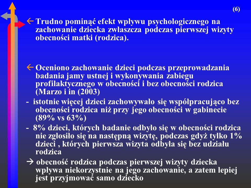 ßTrudno pominąć efekt wpływu psychologicznego na zachowanie dziecka zwłaszcza podczas pierwszej wizyty obecności matki (rodzica). ßOceniono zachowanie