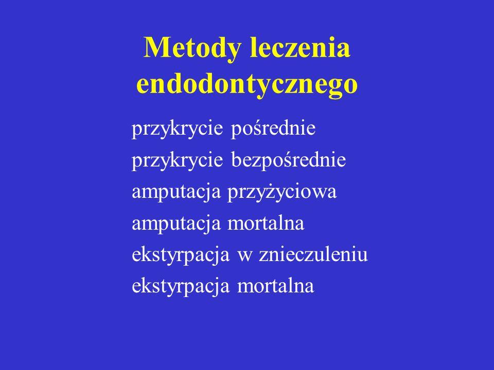 Podział chorób miazgi terapeutyczno - symptomatologiczny I - miazga reagująca na bodźce, nie obnażona lub obnażona na niewielkiej przestrzeni,bez pato