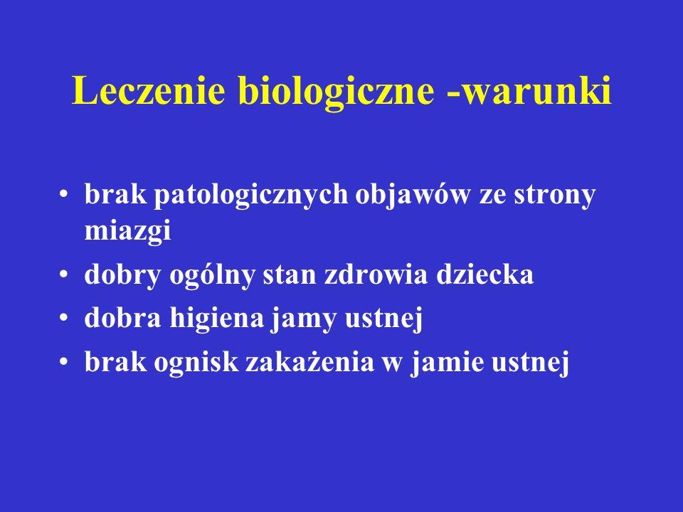 LECZENIE BIOLOGICZNE LECZENIE BIOLOGICZNE - leczenie ma na celu zachowanie żywej miazgi. Polega ono na usunięciu działającego czynnika patogennego ora