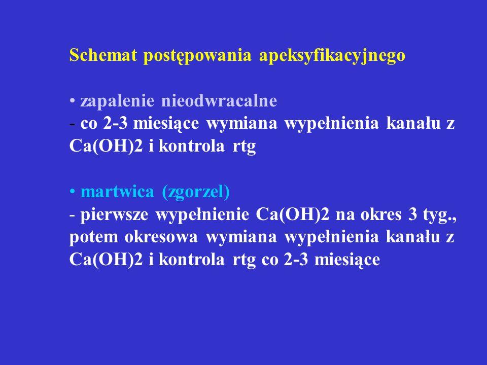 Schemat apeksogenezy po leczeniu metodą ekstyrpacji częściowej
