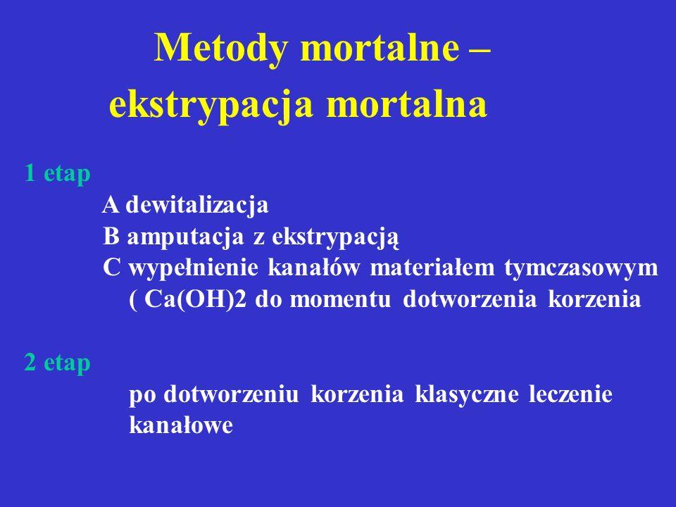 Metody mortalne 1 etap: dewitalizacja (7-10 dni) amputacja założenie pasty mumifikującej (pasta jodoformowa) 2 etap: po dotworzeniu korzenia klasyczne