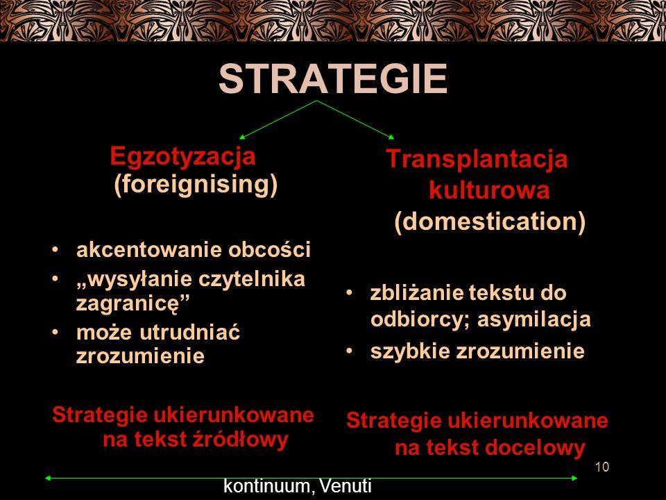 10 STRATEGIE Egzotyzacja (foreignising) akcentowanie obcości wysyłanie czytelnika zagranicę może utrudniać zrozumienie Strategie ukierunkowane na tekst źródłowy Transplantacja kulturowa (domestication) zbliżanie tekstu do odbiorcy; asymilacja szybkie zrozumienie Strategie ukierunkowane na tekst docelowy kontinuum, Venuti