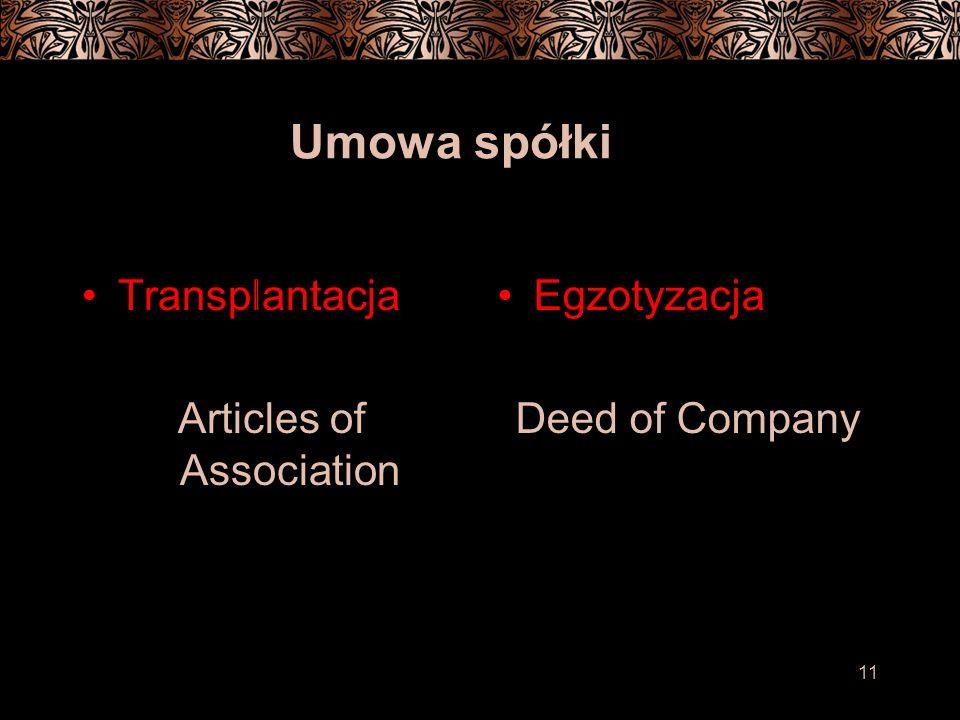 11 Umowa spółki Transplantacja Articles of Association Egzotyzacja Deed of Company
