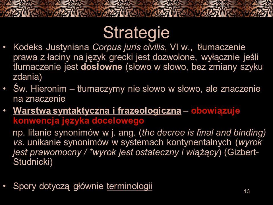13 Strategie Kodeks Justyniana Corpus juris civilis, VI w., tłumaczenie prawa z łaciny na język grecki jest dozwolone, wyłącznie jeśli tłumaczenie jest dosłowne (słowo w słowo, bez zmiany szyku zdania) Św.