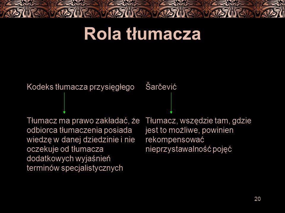 20 Rola tłumacza Kodeks tłumacza przysięgłegoŠarčević Tłumacz ma prawo zakładać, że odbiorca tłumaczenia posiada wiedzę w danej dziedzinie i nie oczekuje od tłumacza dodatkowych wyjaśnień terminów specjalistycznych Tłumacz, wszędzie tam, gdzie jest to możliwe, powinien rekompensować nieprzystawalność pojęć