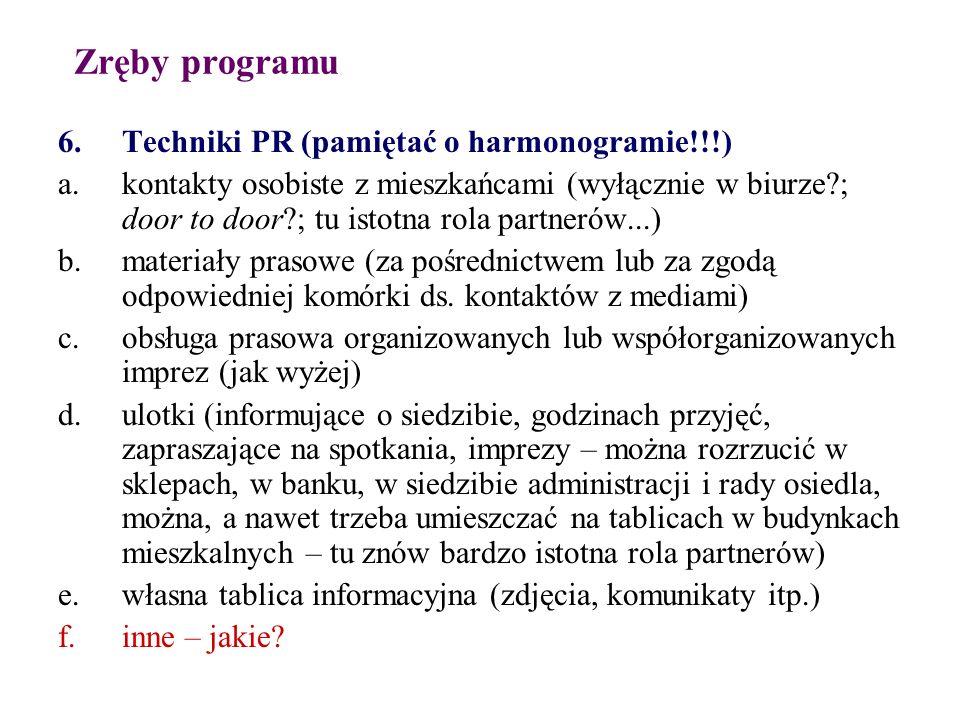Zręby programu 6.Techniki PR (pamiętać o harmonogramie!!!) a.kontakty osobiste z mieszkańcami (wyłącznie w biurze?; door to door?; tu istotna rola par