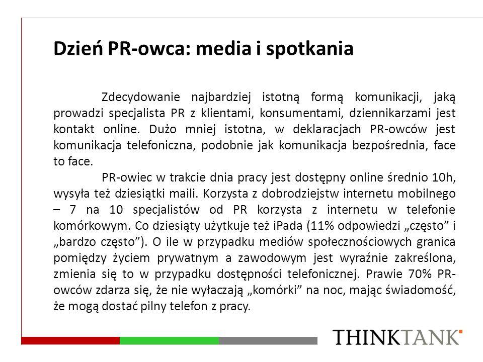 Dzień PR-owca: media i spotkania Zdecydowanie najbardziej istotną formą komunikacji, jaką prowadzi specjalista PR z klientami, konsumentami, dziennika